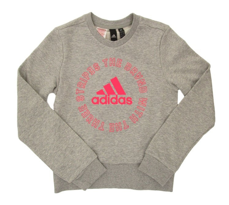 SUDADERA G BOLD CREW 70% ALGODÓN 30% POLYESTER RECICLADO MEDIUM GREY HEATHER/SIGNAL PINK