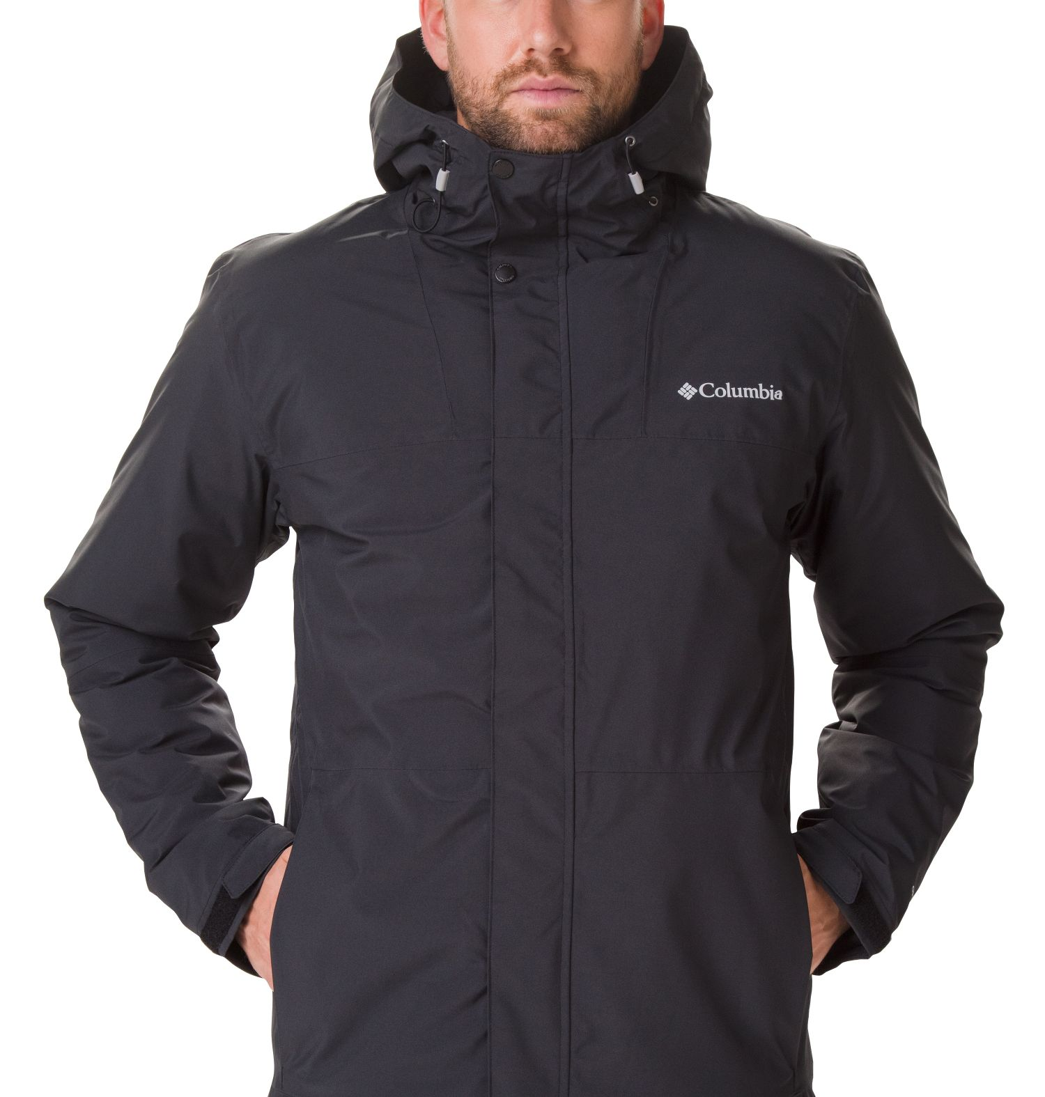 CHAQUETON CAPUCHA HORIZON EXPLORER THERMARATOR 100% POLYESTER Omni-TECH WATERPROOF BREATHABLE Omni-HEAT THERMAL REFLECTIVE BLACK
