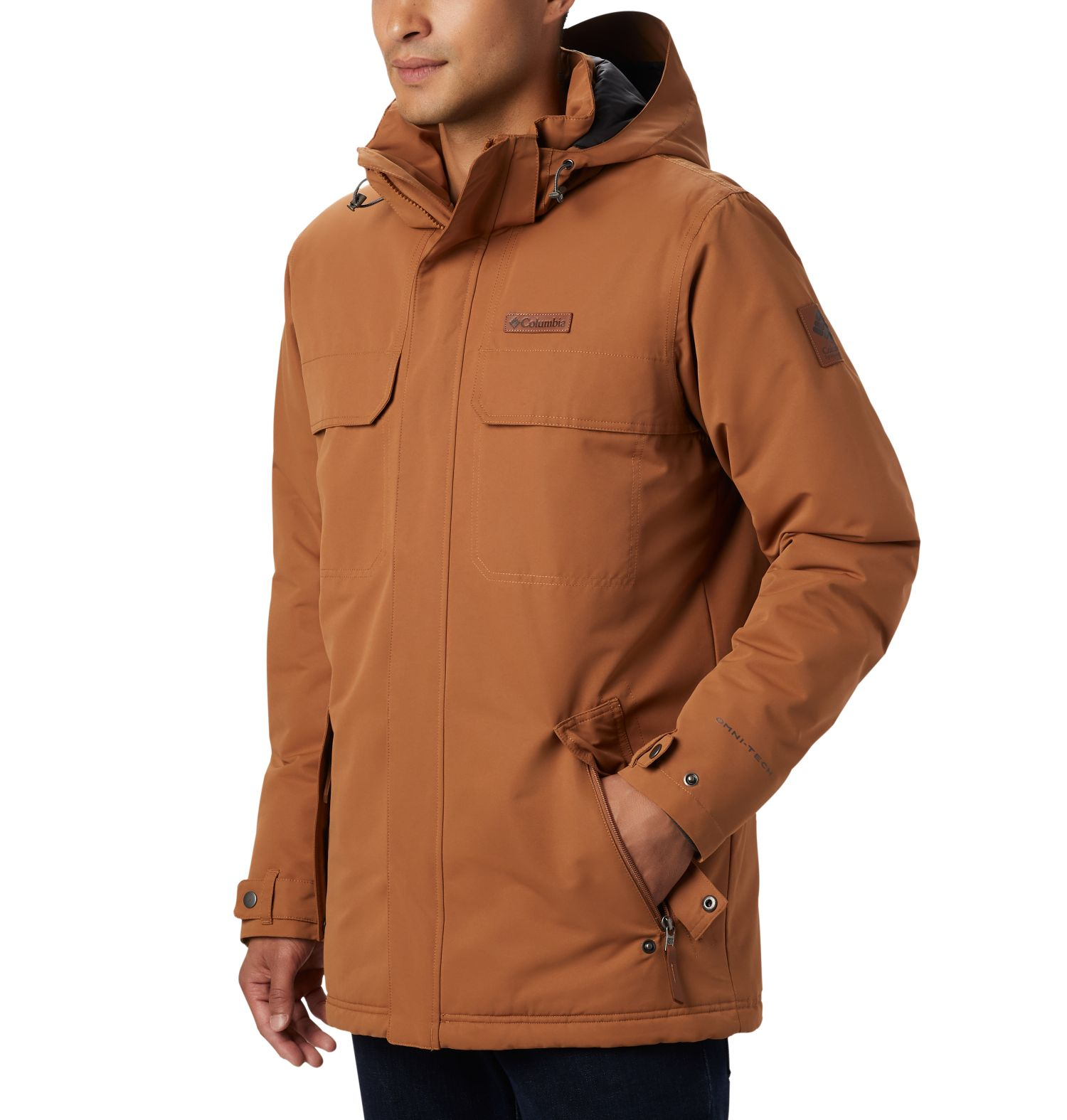CHAQUETON RUGGED PATH 100% POLYESTER 160G Omni-HEAT THERMAL REFLECTIVE INSULATION Omni-TECH WATERPROOF BREATHABLE CAMEL BROWN