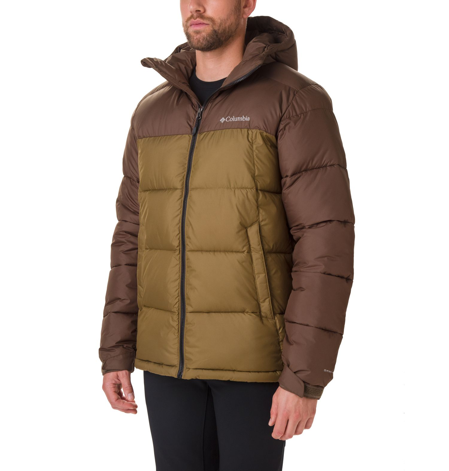 CAZADORA PIKE LAKE HOODED STORM-LITE DP II 100% POLYESTER Omni.HEAT THERMAL REFLECTIVE THERMARATOR WATER RESISTANT OLIVE BROWN/OLIVE GREEN