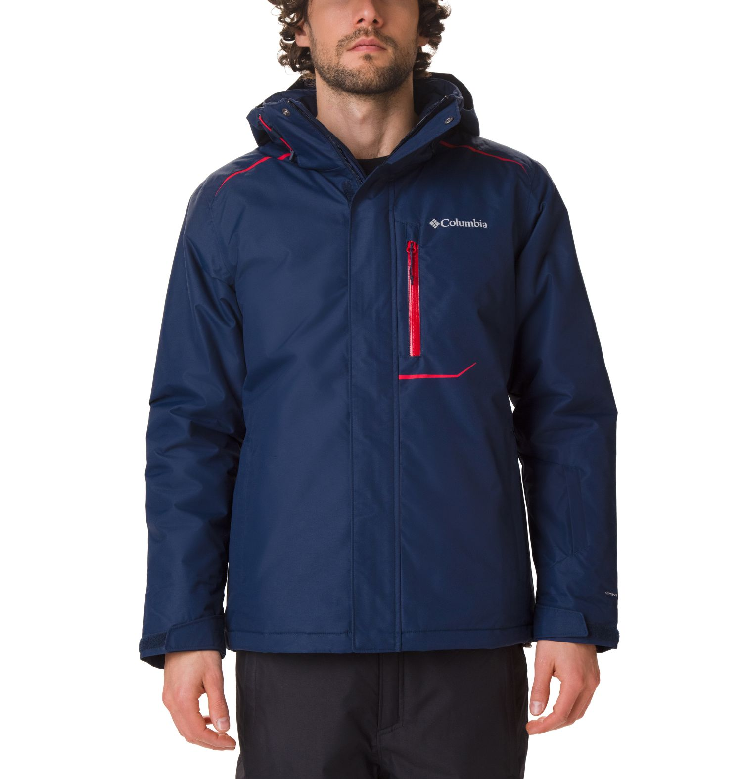 CHAQUETON RIDE ON 100GR MICROTEMP XF II 100% POLYESTER Omni-TECH WATERPROOF BREATHABLE Omni-HEAT REFLECTIVE COLLEGIATE NAVY/MOUNTAIN RED