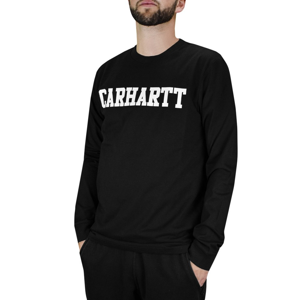 CAMISETA MANGA LARGA L/S COLLEGE T-SHIRT COTTON BLACK/WHITE