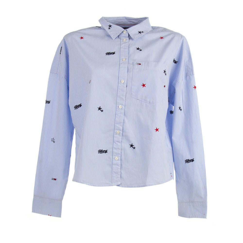 CAMISA MANGA LARGA TJW CRITTER PRINT SHIRT 100% ORGANICALLY  GROWN COTTON MODERATE BLUE / WHITE