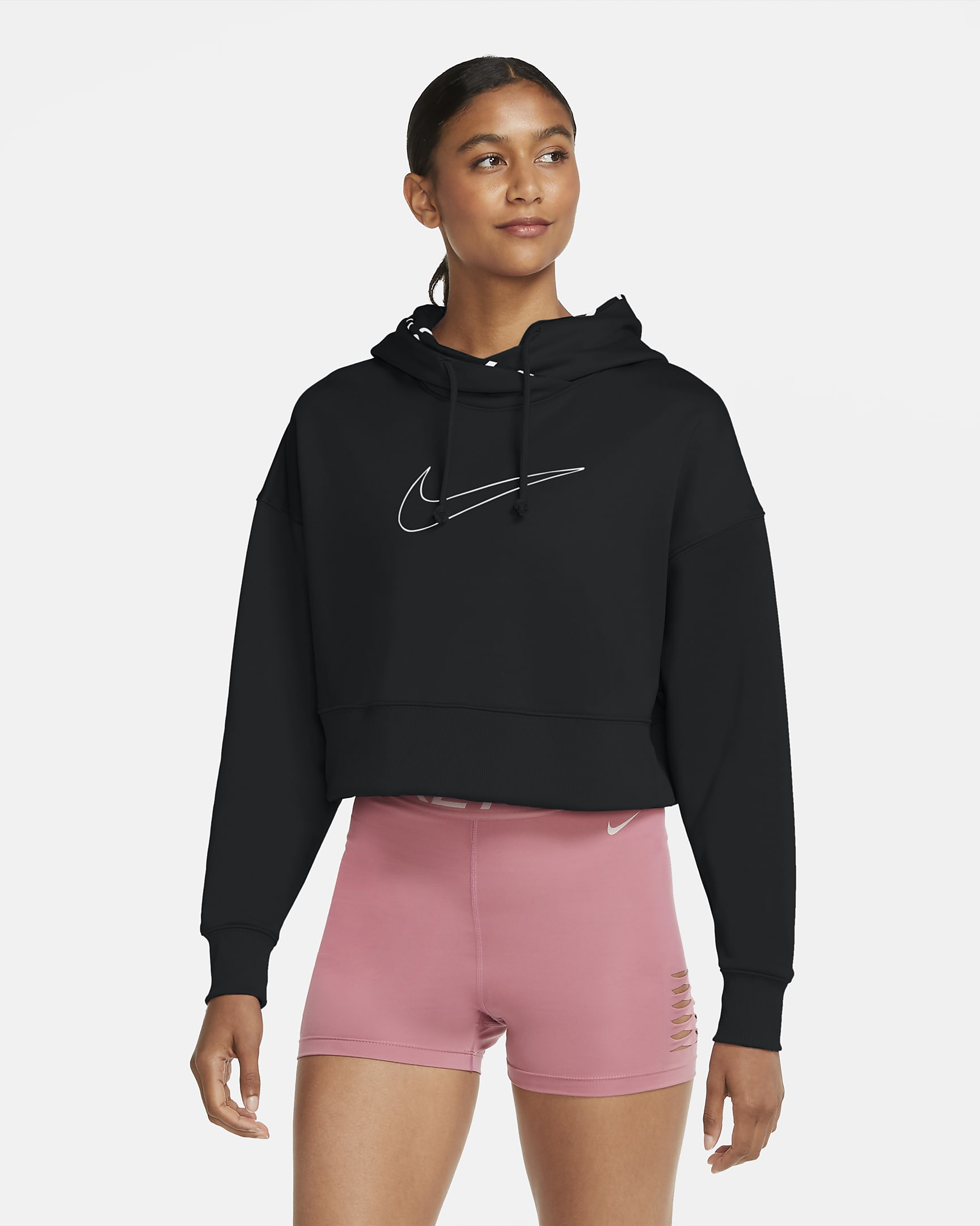 SUDADERA CAPUCHA Nike Therma Womens Cropped Training Pullover Hoodie NEGRO