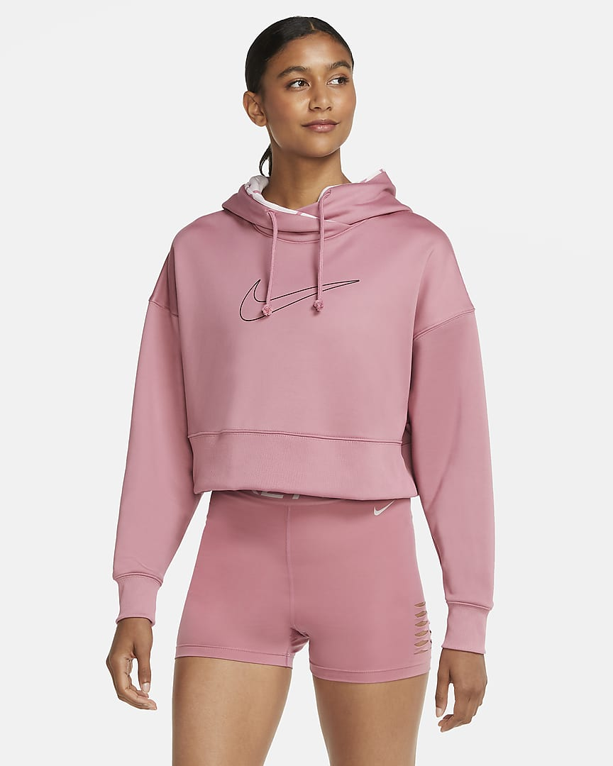 SUDADERA CAPUCHA Nike Therma Womens Cropped Training Pullover Hoodie ROSA
