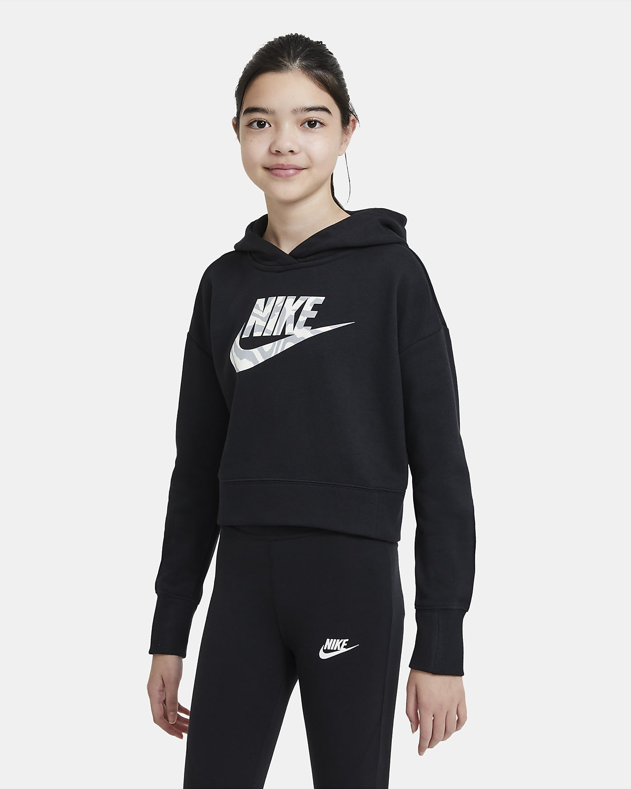 SUDADERA CAPUCHA G NSW CROP HOODIE FILL GIRLS NEGRO