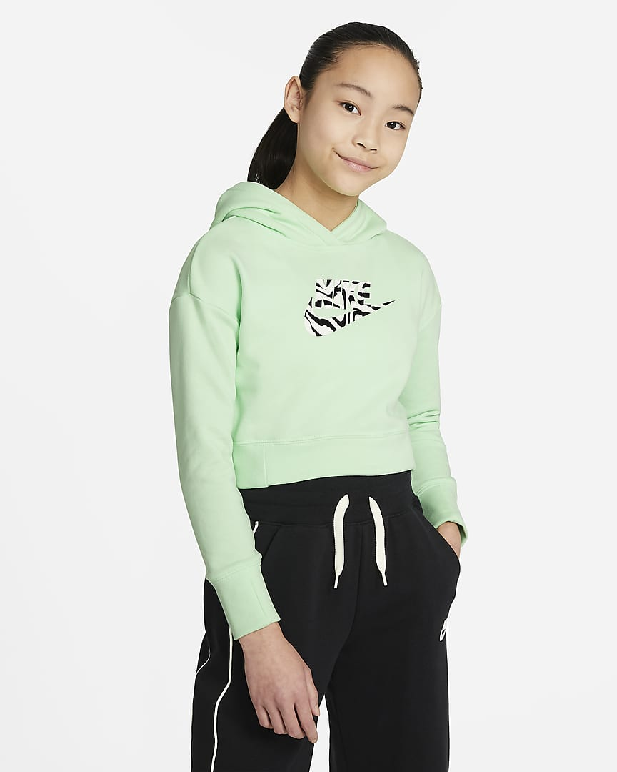 SUDADERA CAPUCHA G NSW CROP HOODIE FILL GIRLS VERDE
